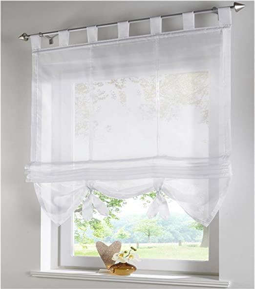 Amazon.com: SIMPVALE 1 Piece Roman Curtains Adorable Tab Top Semi .