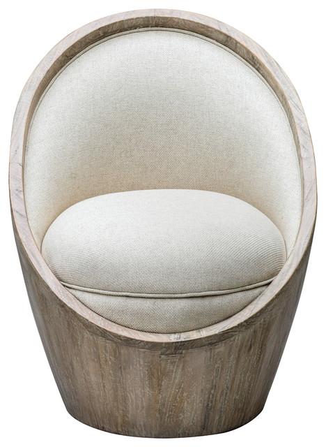Luxe Mid Century Modern Round Tub Chair | Cream White Light Wood .