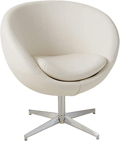 Amazon.com: Best Selling Modern Leather Round Back Chair, White .