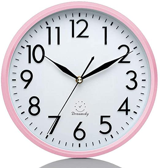 Amazon.com: DreamSky 10 Inches Silent Wall Clock, Battery Operated .