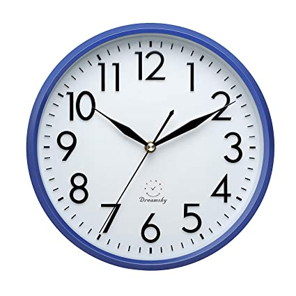 "Buy Navy Blue : DreamSky 10"" Non Ticking Wall Clock, Decorative ."
