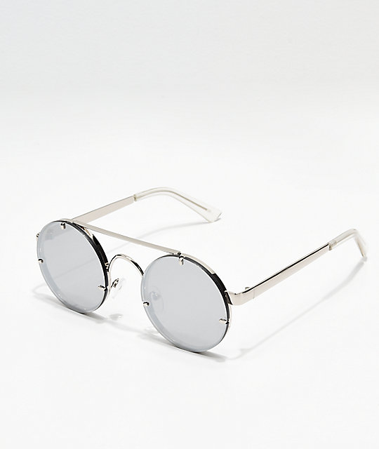 Icon Eyewear Mirrored Round Silver Sunglasses | Zumi