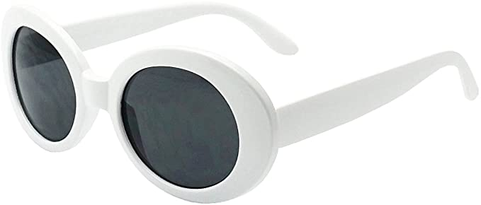 Amazon.com: My Shades - White Oval Round Sunglasses Thick Bold .