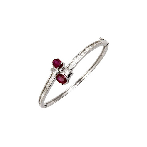 Baguette Diamonds And Ruby Bangle Bracelet at Rs 83000/piece .
