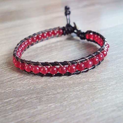 Amazon.com: Ruby bracelets,red bracelets,stone bracelets,leather .