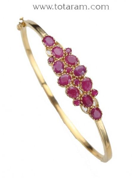 Ruby Bracelet in 22K Gold - Bangle Bracelet - 235-EBR115 in 22.000 .