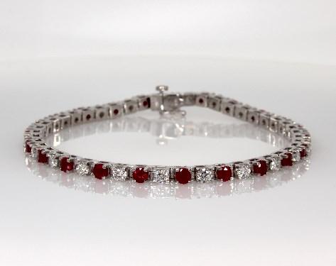 Ruby and Diamond Bracelet (2.38ct tw) | 14K White Gold | 41001W