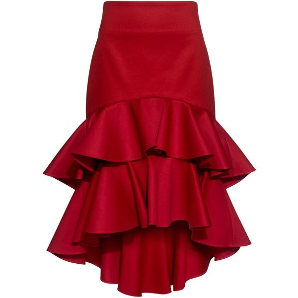 Alexis - Kristyn High-Low Layered Ruffled Skirt ($627) ❤ liked on .