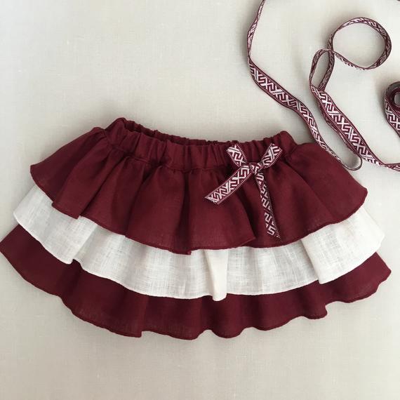 Latvian linen ruffle skirts for girls Red and white skirts | Et