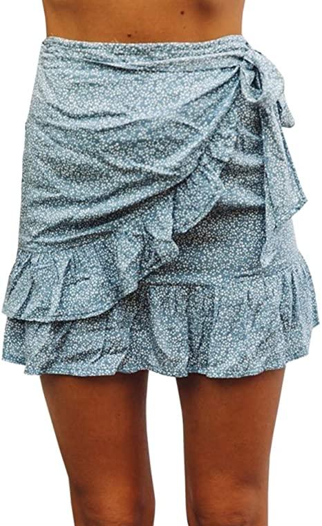 GAMISOTE Women's Summer Mini Skirt Ruffle Hem Mid Waist Knot Solid .