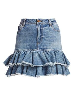 Alice + Olivia Jeans - Good High-Rise Ruffle Denim Skirt - saks.c