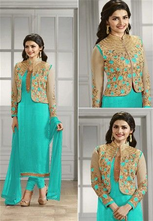 Turquoise Georgette Jacket Style Salwar Kameez #collarneck #Style .