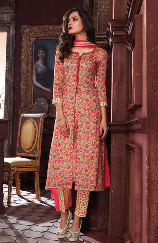 Carrot Red and Cream Designer Printed Cotton Salwar Kameez at Rs .