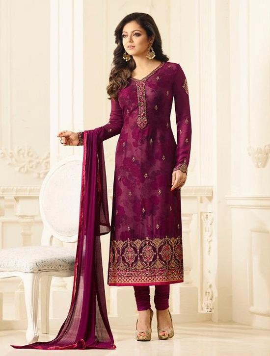Maroon Faux Georgette semi stitched Salwar suit with Dupatta -C