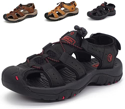 Amazon.com | Sport Sandals Slides Athletic Men Leather Beach Shoes .