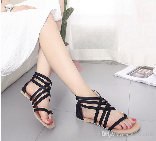 Hot! Sexy Women Sandals Fashion Gladiator Flat Sandals Women .