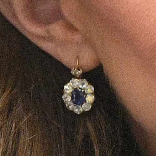 Sapphire & Diamond Oval Drop Earrings - Kate Middleton Earrings .