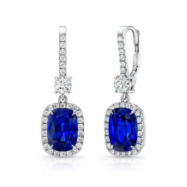Uneek Cushion-Cut Blue Sapphire Dangle Earrings