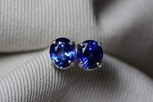 Amazon.com: Unheated Blue Sapphire Stud Earrings, GIA Certified .