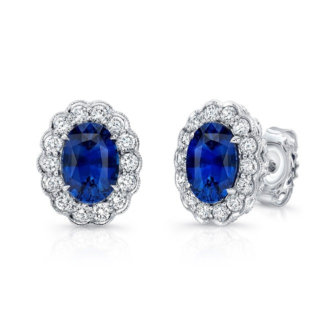 Uneek Oval Blue Sapphire Stud Earrings with Scal