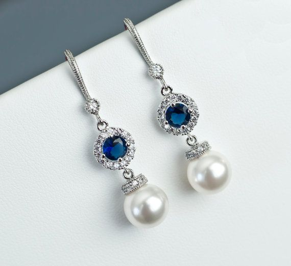 Bridal Earrings Bridal Pearl and Blue Sapphire by CrinaDesign73 .
