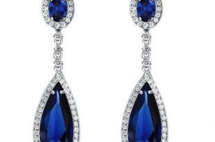 Sapphire Earrings For Fomen,Pear Cut Created Sapphire Drop Earrin