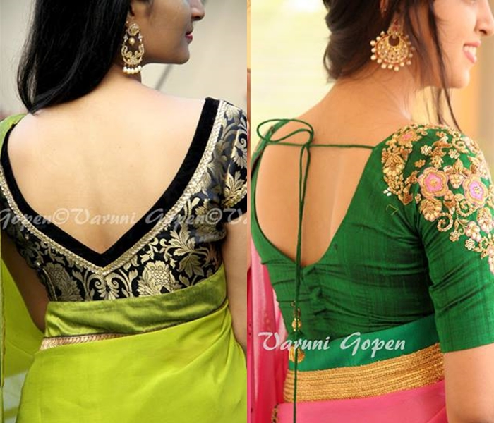 30+ Trendy Blouse Back Neck Designs For Silk Sarees • Keep Me Styli