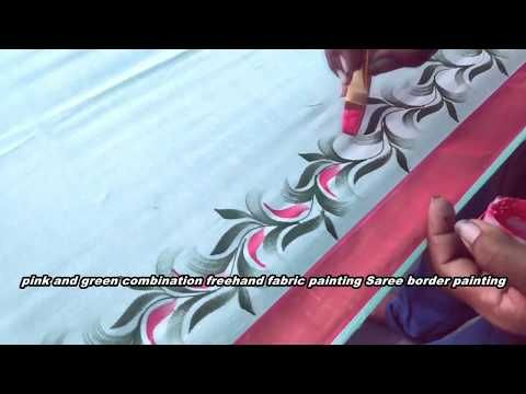 freehand painting | pink and green combination fabric painting .