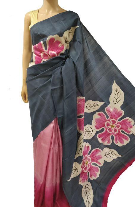 Grey And Pink Hand Painted Murshidabad Silk Saree #sareefashion .