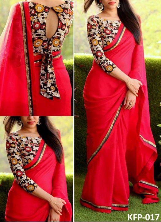 Buy Georgette Red Replica Saree | Designer saree blouse patterns .