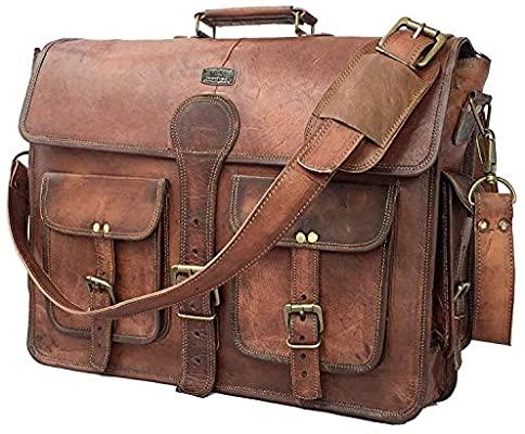 Amazon.com: DHK 18 Inch Vintage Handmade Leather Messenger Bag .