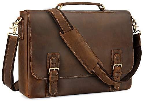 "Amazon.com: Kattee Men's Leather Satchel Briefcase, 15.6"" Laptop ."