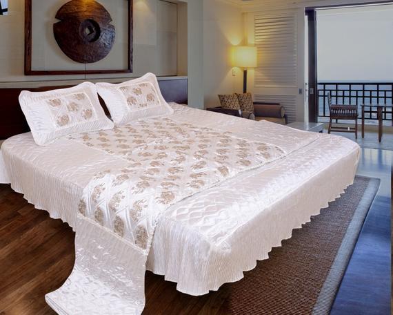 Namaste India Elephant Designer Satin Décor Double Bed Bedding | Et