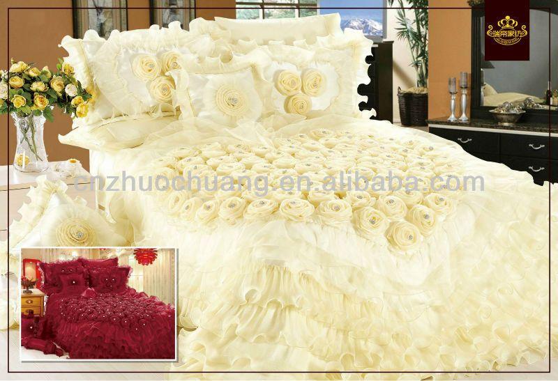 white satin wedding bedding set elegant design, View satin bedding .