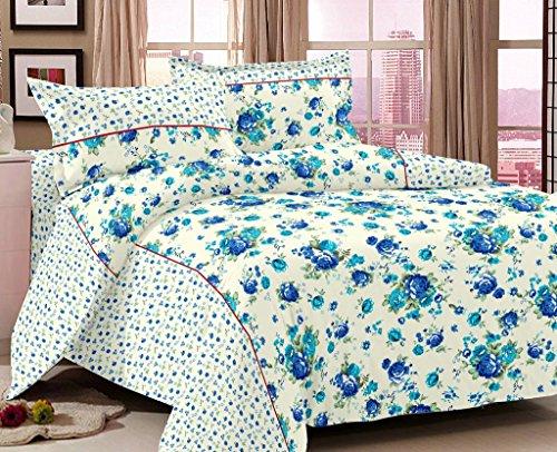 100%-Cotton-Satin Weave Flower Design Double Bedsheet Set with-2 .