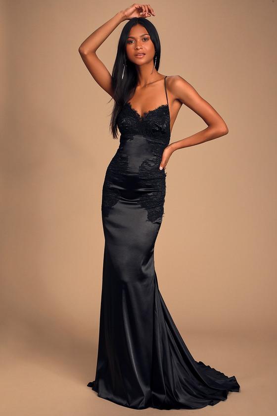 Sexy Black Maxi - Lace-Up Maxi Dress - Satin Maxi - Lace Ma