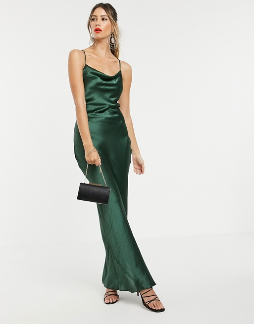 ASOS DESIGN cami maxi slip dress in high shine in satin with lace .