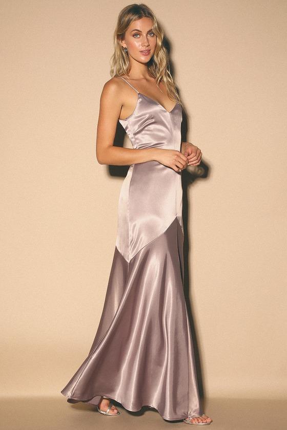 Dusty Lavender Dress - Maxi Dress - Satin Dress - Satin Go
