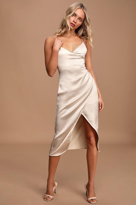 Champagne Satin Dress - Surplice Midi Dress - Faux Wrap Dre