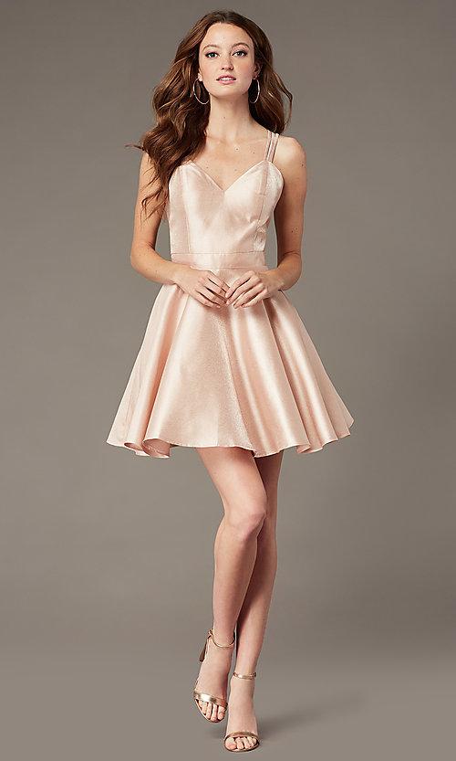 Short Semi-Formal Pink Satin Party Dress - PromGi
