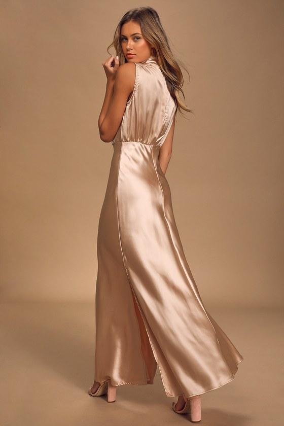 Champagne Satin Dress - Mock Neck Maxi Dress - Sleeveless Dre