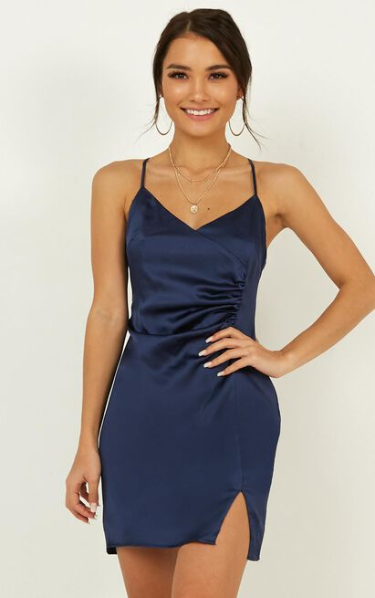 Saw The Light Dress In Navy Satin   Show