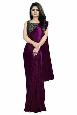 Purple plain satin saree with blouse - Classiques - 32108