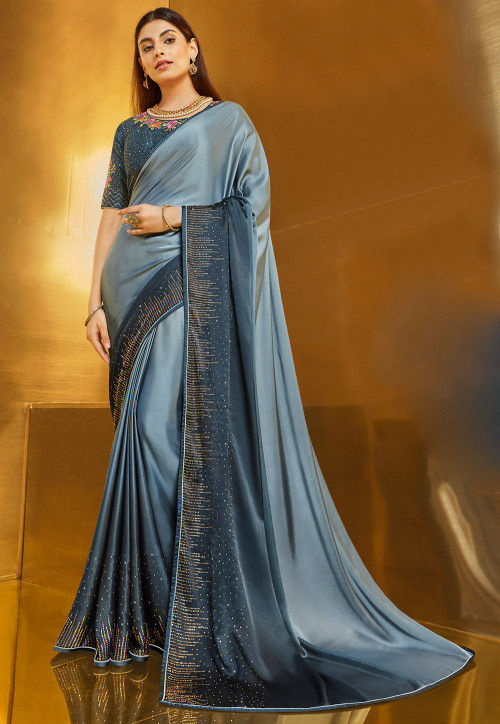 Embellished Satin Saree in Grey Ombre : STS41