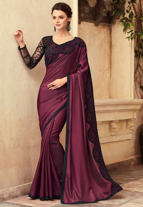 Embroidered Satin Saree in Wine : SFVA6