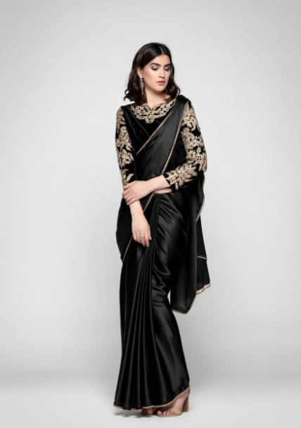 Black Satin Saree With Velvet Blouse | Blouse designs, Saree .