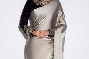Black and Grey Satin Saree | Satin saree, Indian saree blouses .