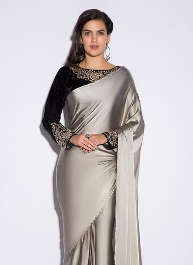 Black and Grey Satin Saree | Satin saree, Indian saree blouses .