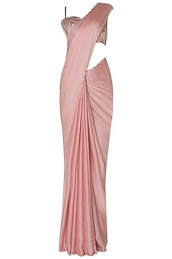 Pink satin saree with embroidered bustier available only at .