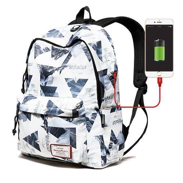 """Girls Designer Backpack USB Charger Backpacks 15 """" Laptop School ."""